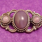 SALE Victorian Revival Brooch of Purple Faux Moonstone Cabochons