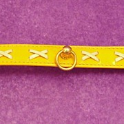 Vintage Faux Yellow Patent Leather Dog Collar by R.H. McElheney
