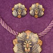 Vintage Signed Cloisonne Demi Parure Purple and Pink Orchid Flower