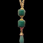Gorgeous Peking Glass Lavalier Drop Necklace