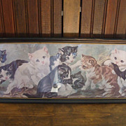 Lovely Framed Yard Long Lithograph of Kittens Playing