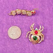 Adorable Duo ~ Thermoset Caterpillar & Rhinestone Spider Pin Set