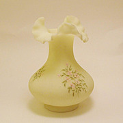 Large Fenton Satin Custard Ruffled Vase w/ Pink Flower Blossoms Signed Mike Trembly