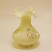 Large Fenton Satin Custard Ruffled Vase w/ Pink Flower Blossoms Signed Mike Trembly