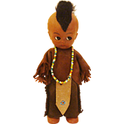 Vintage Indian ~ Native American Indian Doll in Original Suede Costume with Beaded Necklace &