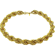 Vintage Napier Signed Thick Rope Gold Tone Necklace