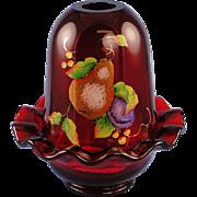 SALE Fenton Glass Ruby Fairy Light Gilded Harvest Design