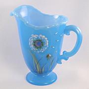 SALE Fenton Glass Sky Blue Pitcher Dandelion Breeze Design