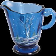 Fenton Glass Indigo Blue Pitcher Silver Birch Design