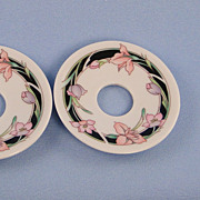 SALE Bobeche Candle Wax Catcher Ceramic Set of Two