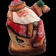 SOLD DeBrekht Masterpiece Rocking Santa Carved Wood - Russian Design