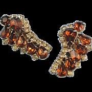 Vintage Clip Earrings Amber Stones Rhinestones