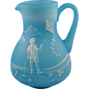Fenton Glass Mary Gregory Pitcher Sky Blue Satin