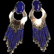 Vintage Southwestern Style Dangle Earrings Dark Blue Sterling Silver Pierced