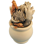 Harmony Kingdom Cookie's Jar Cat with Fish Treasure Jest Box Figurine