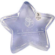 SALE Fenton Crystal Star Paperweight Glass Engraved Logo