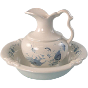 Royal Haeger Bowl and Pitcher Set White Blue Cornflowers Daisies