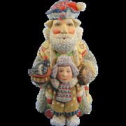 SOLD DeBrekht Santa Father Christmas with Boy Russian Folk Art