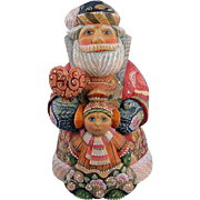 SOLD DeBrekht Santa Father Christmas with Girl Russian Folk Art