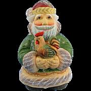 SOLD DeBrekht Santa with Rooster Good Morning Russian Folk Art