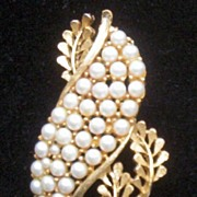 Vintage BSK Faux Pearl and Gold-tone Leaf Brooch