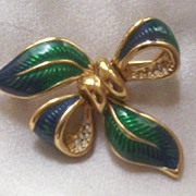 Vibrant Deep Blue & Green Enamel Bow Pin with Rhinestones, 1980s