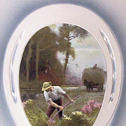 Early 1900s Embossed Meissner & Buch Postcard, Horseshoe Inset of Man Reaping Hay