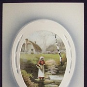Early 1900s Embossed Meissner & Buch Postcard, Horseshoe Inset of Woman Crossing Rocks Across