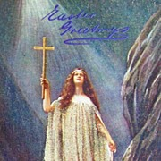 Early 1900s Tuck Oilette Postcard, Spiritual Beauty in the Light of Heaven, Crystal Glitter Go