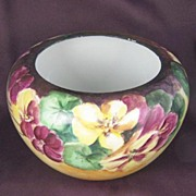 1918, Masterfully Hand Painted Rosenthal Display Bowl/Jardiniere, Exuberant Jewel-toned Floral