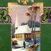 Early 1900s Embossed Gilded E.A.S. Gel Postcard, Man Approaches Snow-covered Steeple Church ..