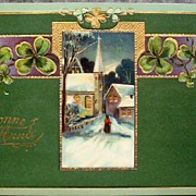 Early 1900s Embossed Gilded E.A.S. Gel Postcard, Woman Approaches Snow-covered Steeple Church