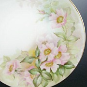 "Hand Painted T&V (Tressemann & Vogt) 9 1/4"" Plate, Pink Wild Roses, Shadow Leaves, Artist"