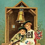 1909 PFB Embossed Postcard, German Children Rest after Gathering Easter Eggs, German Stamp