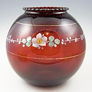 Vintage Red Ruby Anchor Hocking Spherical Ivy Bowl, Hand Painted Enamel Florals