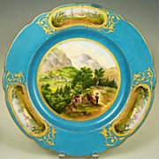 Exceptional Antique Hand Painted French Plate, Father & Son on Mountain Stroll, Miniature Vign