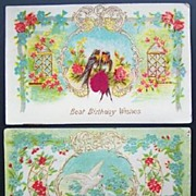 Pair of 1908 Delicately Embossed Gilded Postcards, Doves among Roses and Forget-me-nots, Trell