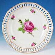 """Schumann Bavarian Pierced 4 3/4"""" Dessert Bowl, Pink Roses, ca. 1920s-30s"""