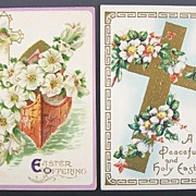 Pair of Gilded Embossed Easter Postcards, Boat of Galilee, Trumpet Lilies, Roses of Sharon, ..