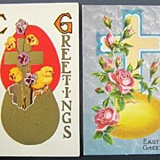 Pair of Gilded & Silver-toned Easter Postcards, Chicks, Cross & Pansies Born from Golden Egg,