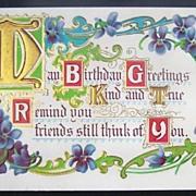 1912 Embossed Gilded Postcard, Illuminated Verse, Art Nouveau Scrolls & Violet Sprays