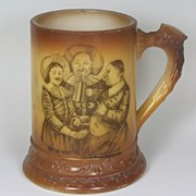 Antique Westmoreland Art Decorated Milk Glass Mug, Drinking Troubadours Transfer, ca. 1910