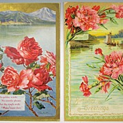 Pair of Gilded Embossed Postcards, Scenic Vignettes - Seaside Italian Village in Mountains, Fi