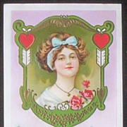 Early 1900s Embossed Gilded Stecher Postcard, Edwardian Lady in Ornate Frame, Hearts and Arrow