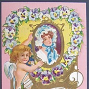 1909 Embossed Gilded Knox Postcard, Cupid Hangs Portrait of Colonial Lady in Floral Bonnet, ..