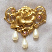 Romantic 'Victorian Rose' Brooch with Pink Rhinestones & Faux Pearls, 1992