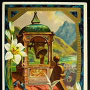Early 1900s Embossed Gilded Postcard, Doves and Bell Tower Bring in Easter Dawn, Lilies