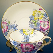 Taylor & Kent Bone China Cup & Saucer, Bright Spring Florals, Transfer with Hand Painted Color
