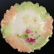 Antique Unmarked R.S. Prussia Blown Out Master Bowl Mold OM 40, Peach & Mint with Magenta Pink