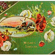 Early 1900s Embossed Gilded Postcard, Man Brings Sheep Home, Windmill, White & Scarlet Poppies